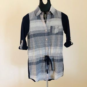 Anthropologie Postage Stamp Blue Button Down Top